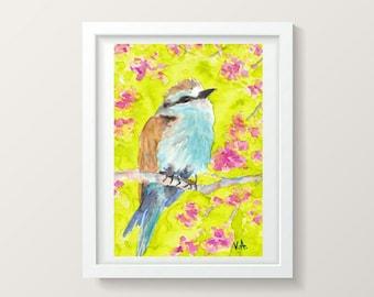 Watercolor bird panting, Small wall art decor, Small painting, Aqiarelle painting, Watercolor artwork, Bird artwork, Bird wall art decor