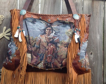 SOLD CUSTOM ORDER****Native American Indian Warrior Tapestry Distressed Leather Tote Handbag