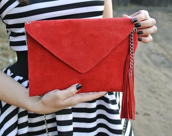 Red leather clutch / Red leather bag / Leather envelope / Leather clutch bag / Suede leather bag / Red purse / Leather evening bag