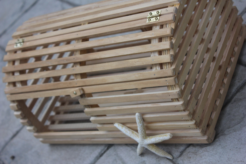 LOBSTER TRAP CARDBOX Card Box Holder Brown Wood Stain