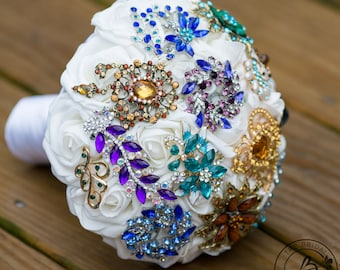 Boho Brooch bouquet, peacock brooch wedding bouquet, broach bouquet, purple teal gold bridal bouquet, jeweled bouquet, indie boho wedding