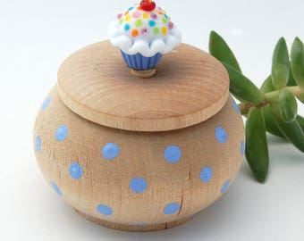 Tiny Wood Trinket Box with  Lampwork Glass Blue and White Sprinkle Cupcake Knob/Finial