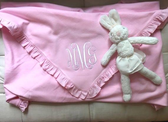 Pink Monogrammed Ruffled Cotton Baby Blanket