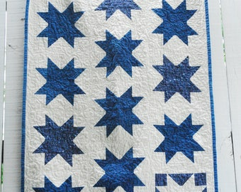 """Organic Sawtooth Star Quilt, Baby Quilt, Wall Hanging, Homeade Indigo Quilt, Constellation Wall Hanging, Tiny Home Decor, 30"""" x 42"""""""