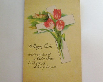 Antique Easter postcard Cross with tulips and farm in background
