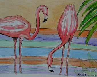 SALE Two Flamingos with Palm - Original Watercolor, Pen, and Ink Painting Tropical Florida Art