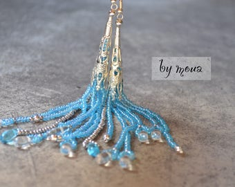 Earrings turquoise and silver seed beads