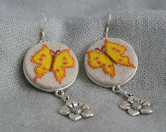 Butterfly earrings Yellow butterfly jewelry Gift|for|her Embroidered earrings Yellow embroidered jewelry Charm flower Yellow jewelry gift
