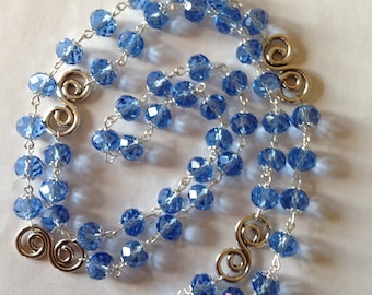 Long sapphire blue crystal glass necklace flapper necklace blue necklace crystal necklace long necklace beaded necklace fashion necklace