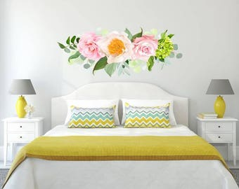 Flowers Wall Decals Rustic New Full Color Murals Floral Vinyl Sticker  Colorful Trendy Decor Girls Bedroom Flowers Decoration Art EN38