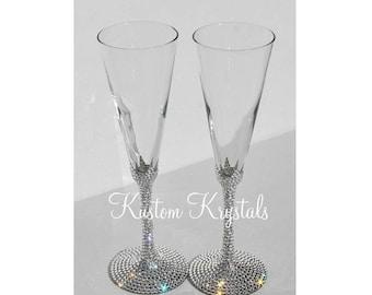 Custom Swarovski crystal embellished STEM + BASE standard toasting flutes, toasting glasses. Champagne flutes. Lenox Tuscany, Gold, Platinum