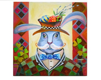 Oil painting Easter bunny Easter Gift Oil paintings on canvas Original Oil Painting folk art painting Original art Easter bunny Painting oil