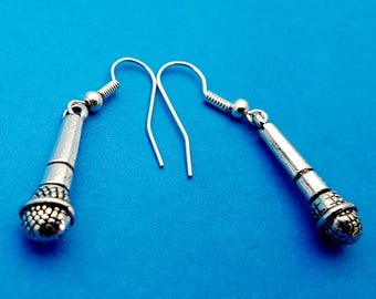 Metal Effect Microphone Earrings - Size of Microphone: 24mm
