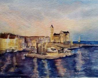 dipinto all'acquerello della cattedrale di Trani - original painting watercolour Trani Cathedral on the sea