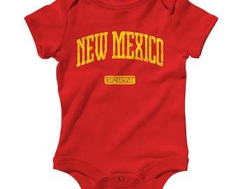 Baby One Piece - New Mexico Represent - Infant Romper - NB 6m 12m 18m 24m - New Mexico Baby Shower Gift, Albuquerque Baby, Las Cruces, State