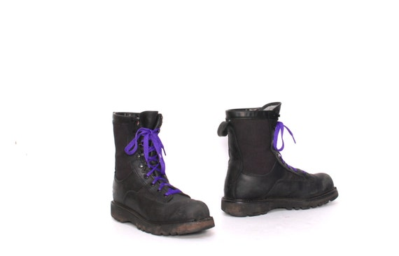 8c8cb7501caa3 MILITARY COMBAT boots up 90s GOTH jungle canvas lace mens black size ...