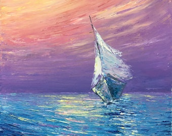 """Sailing - Pastel Color Sunset 11"""" X 14""""Original Impressionism Oil Painting artwork on canvas, オリジナル油彩画 by Yoko Collin"""