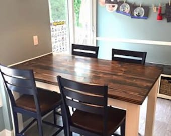 Kitchen Island Table Rustic Farmhouse Counter Height Table