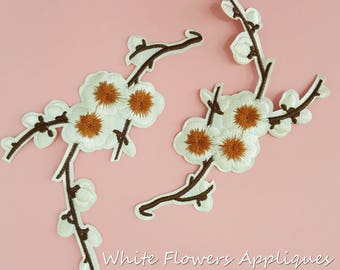 Iron on White Flower Patches Appliques, Hot Fix Flower Appliques, Fast Adhesive Flowers