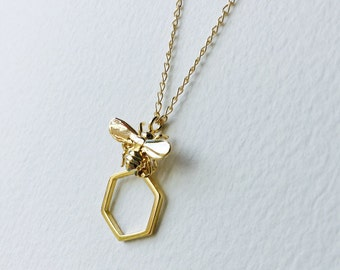 Bumblebee and Honeycomb Gold Necklace Gold Bee Necklace Gold Bumble Bee Necklace Gold Honeycomb Necklace