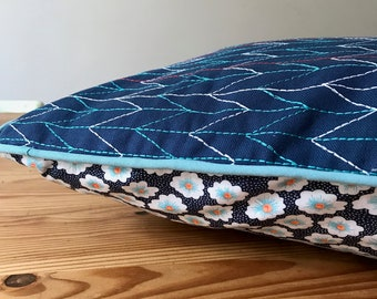 Blue pillows with fabric, ethnic fabric cushion, pillows with fabric blue osami Midnight Blue cushion.