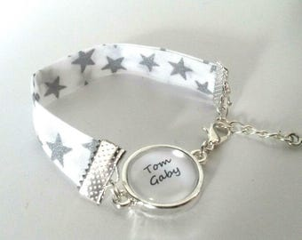 Liberty bracelet with customizable names cabochon, glitter stars