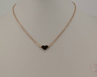 Necklace Silver 925 gold plated rose and heart shaped pendant