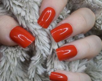 Orange Nails Fake Nails, Medium Short False Nails, Hand Painted Press On Nails Straight Nails, Nail Designs, Full Cover Nails, Glue On