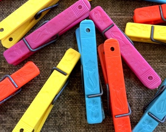 Colorful 70s Clothespins - Made in USA by Penley