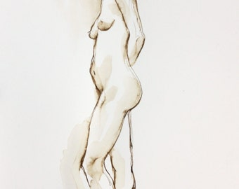 Original Ink Nude, Original Nude Drawing, Ink Figure Drawing, Looking Back, Walnut Ink on Paper, Standing Female Nude Figure, Earthtone Art