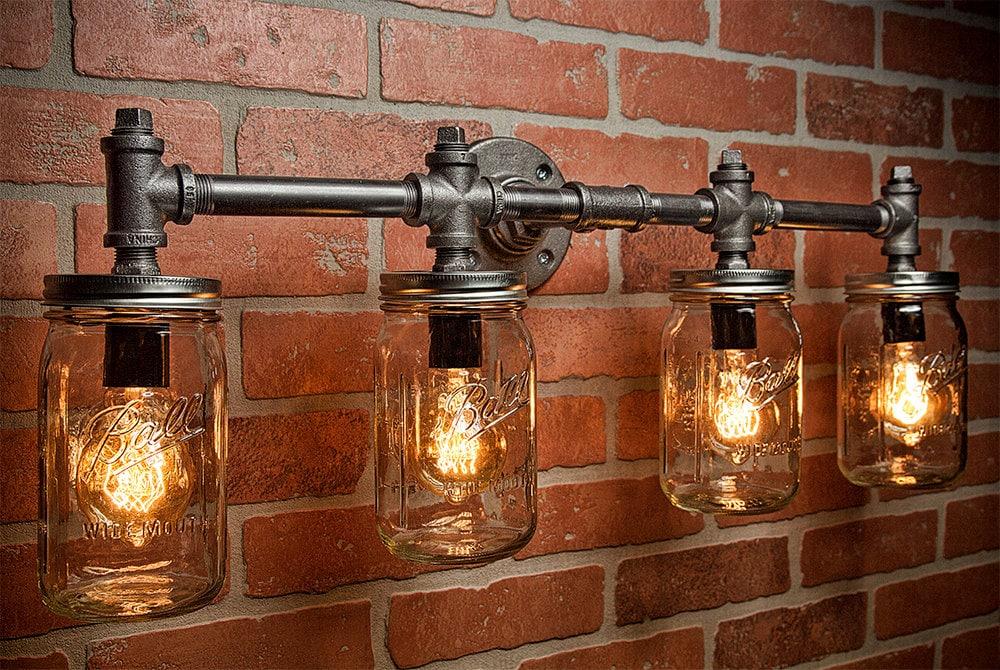 Industrial Lighting Lighting Mason Jar Light Steampunk