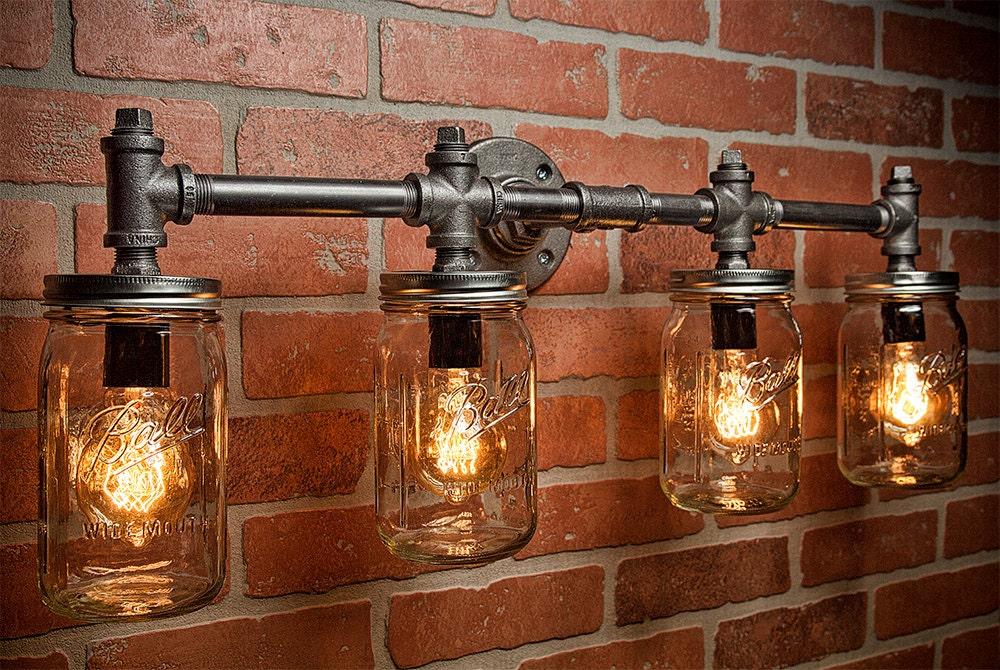?zoom & Industrial Lighting Lighting Mason Jar Light Steampunk