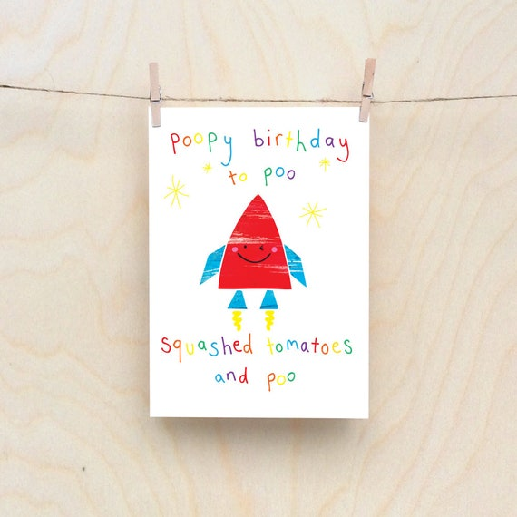 Poopy Rocket card, Rude kids cards, Silly Children's cards, Toddler rude words card, funny kids card. funny birthday card.