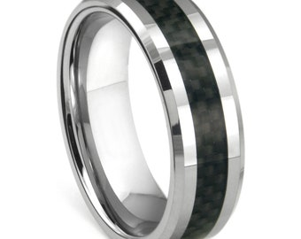 Tungsten Ring with Black Carbon Fiber Inlay  Mens Wedding Band FREE SHIPPING