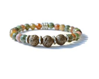 Aromatherapy Lava Stone and Jasper Stretch Bracelet,  Essential Oil Diffuser Jewelry