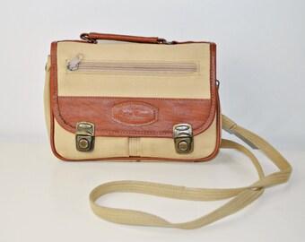 Vintage ENRICO BENETTI Canvas Saddle Bag / Cross Body / Cream Brown Messenger Bag