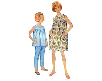 """Child's Dress Blouse Sundress Pants Trousers Girls Vintage 60s Easy Sewing Pattern Size 6 Breast 24"""" (61 cm) Advance 3465 S"""