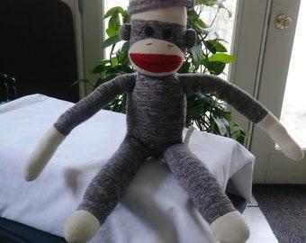 Vintage Schylling SOCK MONKEY DOLL mouth monkey toy 20 in. dolls