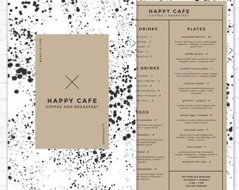 Restaurant Menu Template, Modern Menu Design for Restaurants, Restaurant Decor, Cafe Menu, Coffee Shop Photoshop Template, Restaurant Brand
