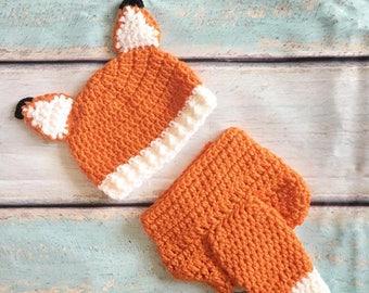 Newborn Halloween Costume, Baby Fox Outfit, Crochet Fox Set, Fox Hat, Baby Animal Hat, Newborn Photo Prop, Character Hat, Newborn Outfit