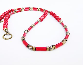 Mens Red Coral Necklace, Mens Pyrite Necklace, Mens Beaded Jewelry, Mens Beaded Necklace, Natural Stone Necklace, Choker Necklace