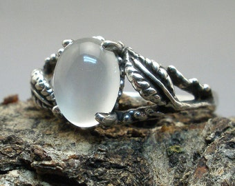 Moonstone Leaf Ring, Hand Crafted Recycled Sterling Silver, June Birthstone, Cancer, Libra, Scorpio, handmade European Beech tree leaves