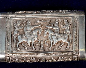 Rare Antique Silver Repousse Trinket / Snuff Box Extraordinary Collectible - Luxurious Silver Vintage Betel Nut Box - Wedding Gift. G10-60
