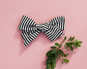 Black and White thin Stripes Hand-tied Simple Fabric Bow Nylon Elastic or Alligator Clip