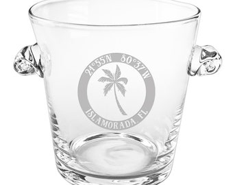 Custom Coordinates Island Palm Scroll Handle Ice Bucket, Latitude Longitude Glassware, Custom Barware