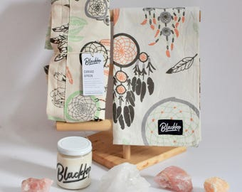 Gift Set: Dream Catcher, Pastel Print, Candle Set, Soy Candle, Vegan Candle, All Natural Gift, Unisex, Apron, Tea Towel