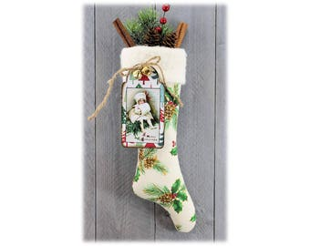 Stocking Christmas Winter Holiday Accent Homespun Tag Handcrafted