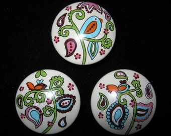 Set of 3 - EGG SHELL PAiSLEY - NEW CoLoRS - Dresser Drawer Knobs Pulls