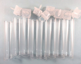 8 Clear Acrylic Tubes, Bead Storage, Small Pendants, Stopper and Loop 2.5 in. - 8 pc - MS11051-BT8