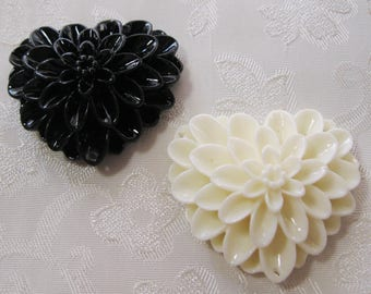 Drilled Large Mum Heart Flower Beads With 3 Holes 33mm Lucite Acrylic Resin Choose Your Colors 915